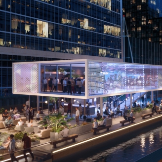 Floating Pavilions Arrive In Canary Wharf